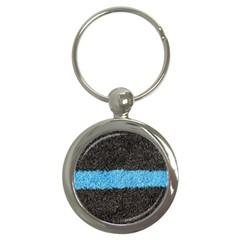 Black Blue Lawn Key Chain (round)