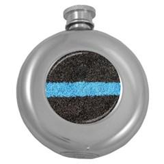 Black Blue Lawn Hip Flask (round) by hlehnerer