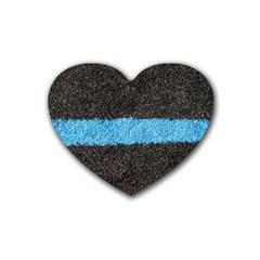 Black Blue Lawn Drink Coasters 4 Pack (heart)  by hlehnerer