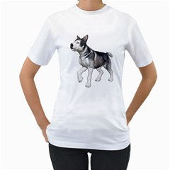 Puppy 4 Womens  T-shirt (White) by gatterwe