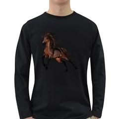 Brown Horse 1 Mens' Long Sleeve T Shirt (dark Colored) by gatterwe