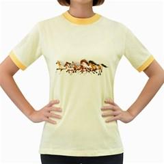 Wild Horses Herd Womens  Ringer T Shirt (colored)