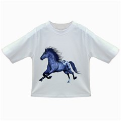 Blue Horse Baby T Shirt by gatterwe
