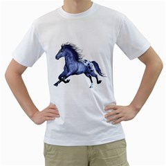Blue Horse Mens  T Shirt (white) by gatterwe