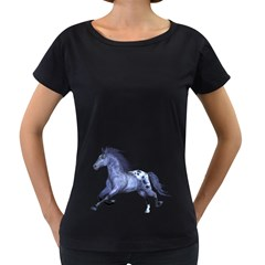 Blue Horse Womens' Maternity T Shirt (black) by gatterwe