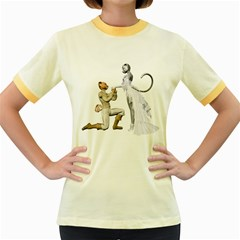 Wedding Couple 1 Womens  Ringer T Shirt (colored) by gatterwe