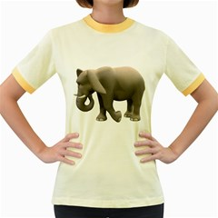 Elephant 2 Womens  Ringer T Shirt (colored) by gatterwe