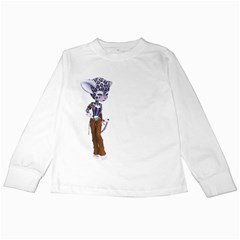 Native Snow Leopard 3 Kids Long Sleeve T Shirt by gatterwe