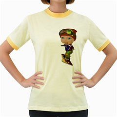 Snowboarder 3 Womens  Ringer T Shirt (colored) by gatterwe