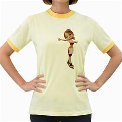 Skater Girl 2 Womens  Ringer T Shirt (colored) by gatterwe