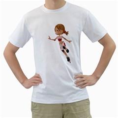 Skater Girl 3 Mens  T Shirt (white) by gatterwe