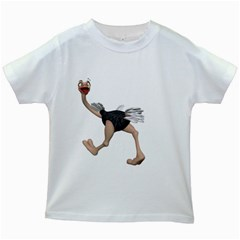 Ostrich 4 Kids' T Shirt (white) by gatterwe