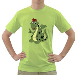 Cartoon Dragon Mens  T Shirt (green) by gatterwe