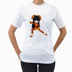 Kawaii China Girl 2 Womens  T-shirt (White) by gatterwe