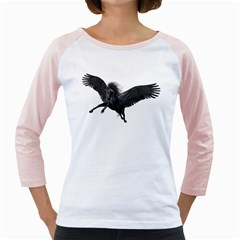 Black Pegasus Womens  Long Sleeve Raglan T Shirt (white) by gatterwe