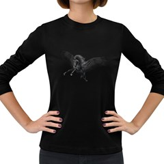 Black Pegasus Womens' Long Sleeve T Shirt (dark Colored) by gatterwe
