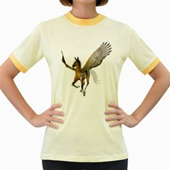 Flying Pony 2 Womens  Ringer T Shirt (colored) by gatterwe