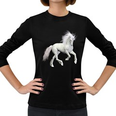 White Unicorn 3 Womens' Long Sleeve T Shirt (dark Colored) by gatterwe