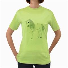 White Unicorn 4 Womens  T Shirt (green) by gatterwe