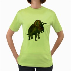 Triceratops Womens  T Shirt (green) by gatterwe