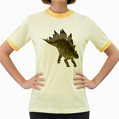 Stegosaurus 2 Womens  Ringer T-shirt (Colored)