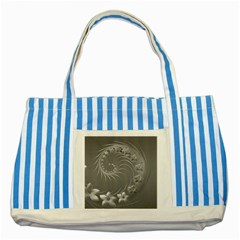 Gray Abstract Flowers Blue Striped Tote Bag by BestCustomGiftsForYou