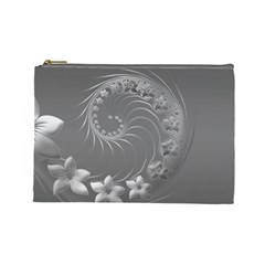 Gray Abstract Flowers Cosmetic Bag (large) by BestCustomGiftsForYou