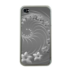 Gray Abstract Flowers Apple Iphone 4 Case (clear) by BestCustomGiftsForYou
