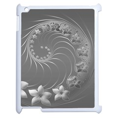 Gray Abstract Flowers Apple Ipad 2 Case (white) by BestCustomGiftsForYou