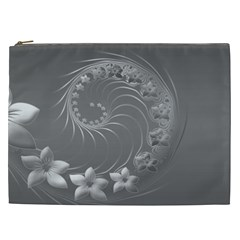 Gray Abstract Flowers Cosmetic Bag (xxl) by BestCustomGiftsForYou