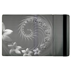 Gray Abstract Flowers Apple Ipad 2 Flip Case by BestCustomGiftsForYou