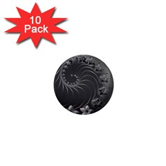 Dark Gray Abstract Flowers 1  Mini Button Magnet (10 Pack) by BestCustomGiftsForYou