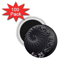 Dark Gray Abstract Flowers 1 75  Button Magnet (100 Pack) by BestCustomGiftsForYou