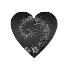 Dark Gray Abstract Flowers Magnet (heart) by BestCustomGiftsForYou