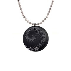 Dark Gray Abstract Flowers Button Necklace by BestCustomGiftsForYou
