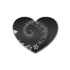 Dark Gray Abstract Flowers Drink Coasters (heart) by BestCustomGiftsForYou