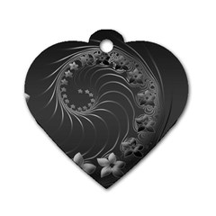 Dark Gray Abstract Flowers Dog Tag Heart (One Sided)
