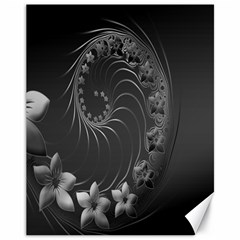 Dark Gray Abstract Flowers Canvas 11  X 14  9 (unframed) by BestCustomGiftsForYou