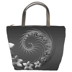 Dark Gray Abstract Flowers Bucket Bag by BestCustomGiftsForYou