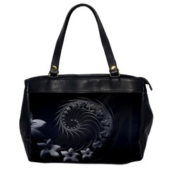 Dark Gray Abstract Flowers Oversize Office Handbag (one Side)