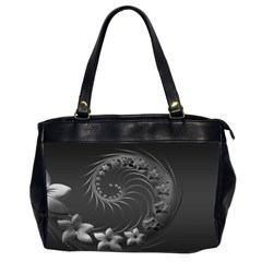 Dark Gray Abstract Flowers Oversize Office Handbag (two Sides) by BestCustomGiftsForYou