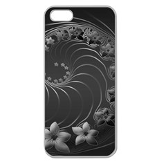 Dark Gray Abstract Flowers Apple Seamless Iphone 5 Case (clear) by BestCustomGiftsForYou