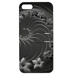 Dark Gray Abstract Flowers Apple Iphone 5 Hardshell Case With Stand by BestCustomGiftsForYou