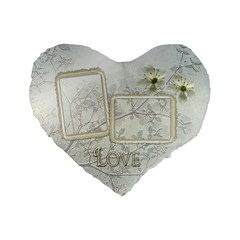 White Love 16  Heart Cushion By Ellan   Standard 16  Premium Heart Shape Cushion    0mcxmipmq47i   Www Artscow Com Front