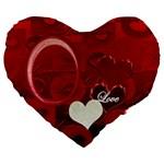Red Love 19  Heart Cushion - Large 19  Premium Heart Shape Cushion