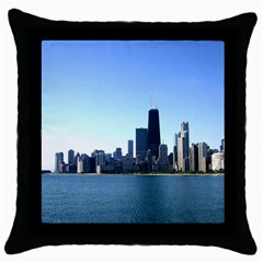 Chicago Skyline Black Throw Pillow Case by canvasngiftshop