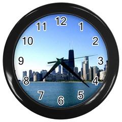 Chicago Skyline Wall Clock (black) by canvasngiftshop