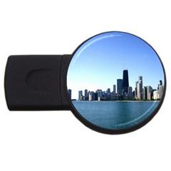 Chicago Skyline 4gb Usb Flash Drive (round) by canvasngiftshop