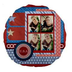 Usa 4 July By Usa   Large 18  Premium Round Cushion    Rv3e7omb0cwd   Www Artscow Com Front