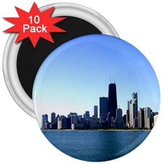 Chicago Skyline 3  Button Magnet (10 Pack) by canvasngiftshop